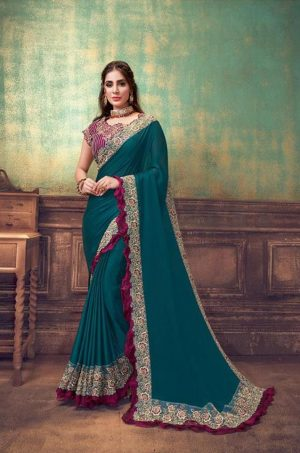 Party Wear Sarees With Designer redy Blouses & border – turquoise blue & wine colour