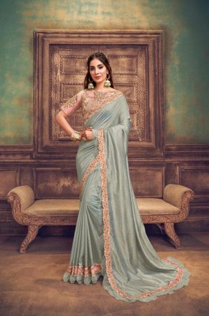 Party Wear Sarees With Designer redy Blouses & border – pink & bluish grey colour