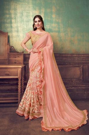 Party Wear Sarees With Designer redy Blouses & border – peach colour