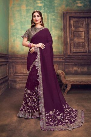 Party Wear Sarees With Designer redy Blouses & border – deep purple & grey purple colour