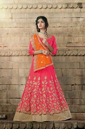 Traditional Lehengas Silk,Net & georgette Fabrics- orange & pink colour