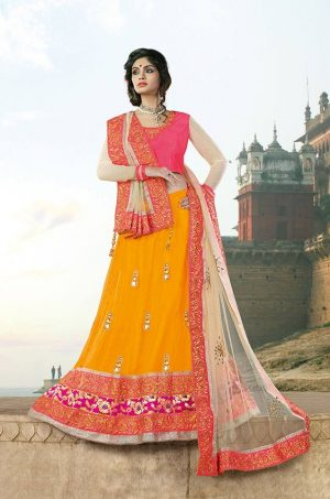 Traditional Lehengas silk,Net & brocade Fabrics- yellow-pink & off white colour