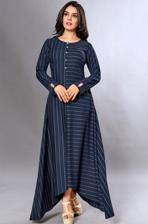 Laxmipati Cotton Base Navy Blue Gown