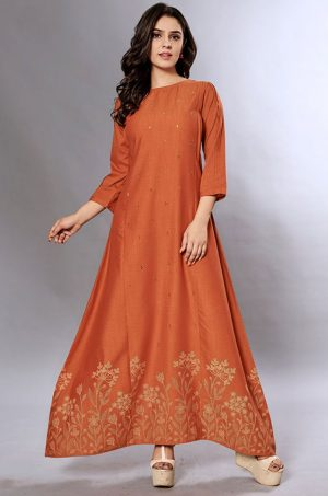 Laxmipati Cotton Base Rustic Orange Gown