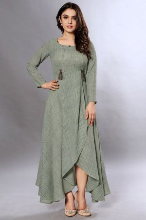 Laxmipati Cotton Base Grey Green Gown