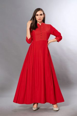 Laxmipati Cotton Base Red Gown