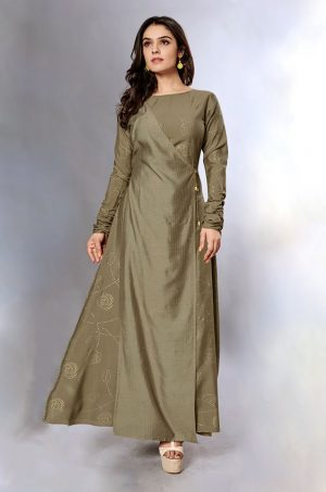 Laxmipati Cotton Base Metalic Grey Gown