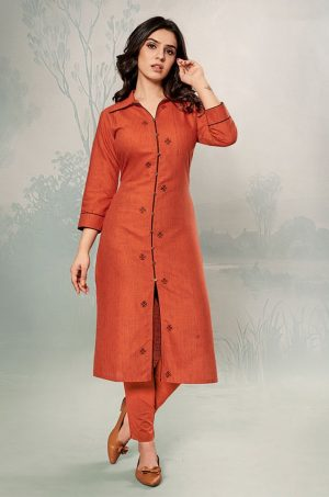 Laxmipati Cotton Base Fabric- rust colour Kurti