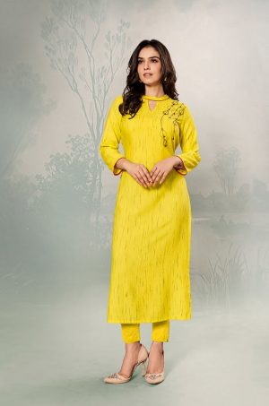 Laxmipati Cotton Base Fabric- yellow colour Kurti
