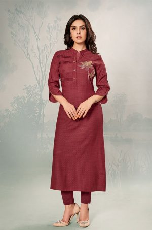 Laxmipati Cotton Base Fabric- Crimson colour Kurti