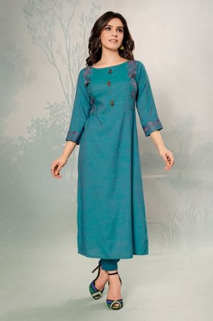 Laxmipati Cotton Base Fabric- Teal colour Kurti
