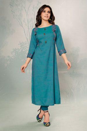 Laxmipati Cotton Base Fabric- Teal colour Kurti
