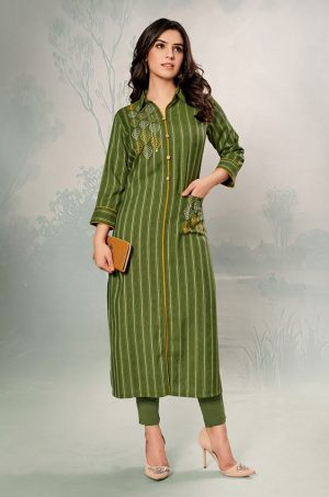 Laxmipati Cotton Base Fabric- Olive green colour Kurti