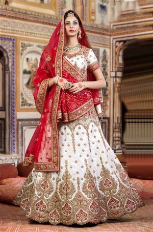 Bridal Wear Lehengas Silk & Net Fabrics- Red & White colour