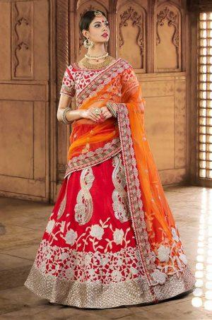 Bridal Wear Lehengas Net & Silk Fabrics- Red & Orange colour