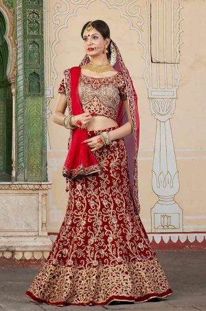 Bridal Wear Lehengas Net,Velvet & Silk Fabrics- maroon & chiku colour
