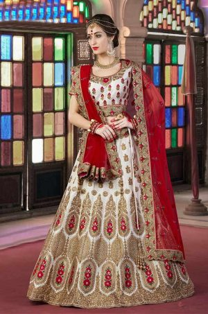 Bridal Wear Lehengas Net & Silk Fabrics- Red & white colour