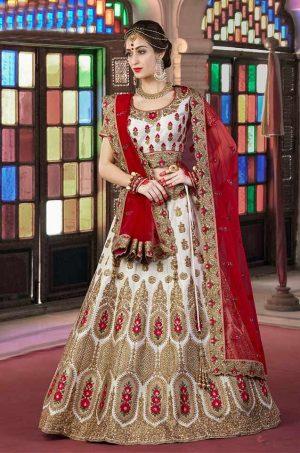 Bridal Wear Lehengas Net & Silk Fabrics- Red & white colour