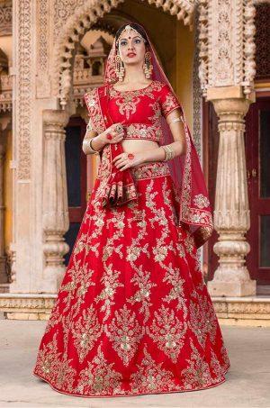 Bridal Wear Lehengas Net & Silk Fabrics- Red colour