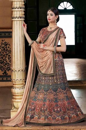Bridal Wear Lehengas Net & Silk Fabrics- chiku & green colour