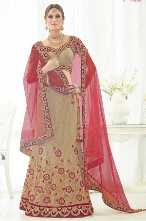 Best Bridal Wear Lehenga Choli Net, Velvet & Silk Fabrics – Maroon & Beige Colour