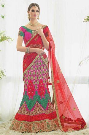 Bridal Wear Lehenga -Chaniya Choli -Lancha- Net Fabrics- Pink Colour