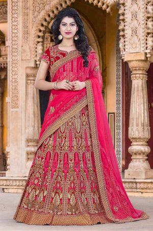 Red & Pink Bridal Wear Lehenga for Marriage -Best Wedding Lehenga for Dulhan -Net & Velvet Fabrics