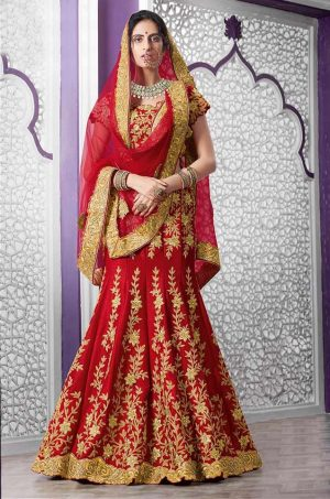 Bridal Wear Lehengas Net & Silk Fabrics- Red colour