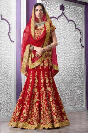 Bridal Wear Lehengas Net & Silk Fabrics- Red Colour – Best Sadi Ka lehenga For Dulhan- On Sale – Under 8000
