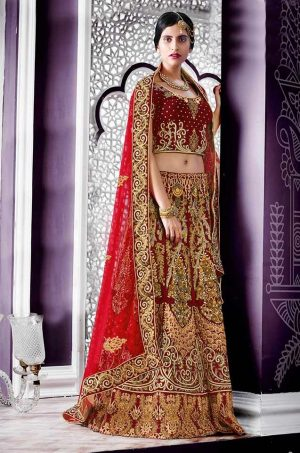 Bridal Wear Lehengas Net & Velvet Fabrics- Red Colour – Top Designers Collection Bridal Wear Lehenga