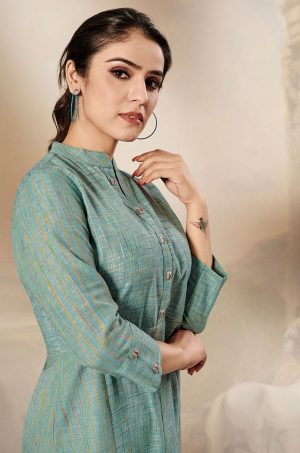 Laxmipati Cotton Base Fabric- Sea Green colour Kurti