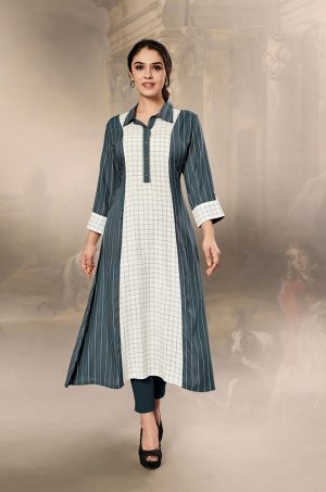 Laxmipati Cotton Base Fabric- White & Slate Gray colour Kurti