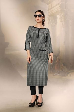 Laxmipati Cotton Base Fabric- Metalic Grey colour Kurti