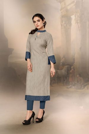 Laxmipati Cotton Base Fabric- Tan & Slate Gray colour Kurti
