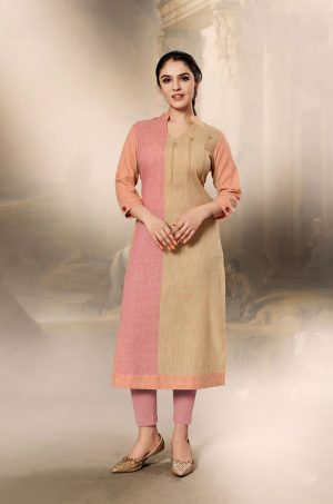 Laxmipati Cotton Base Fabric- Tan, Peach & Baby pink colour Kurti
