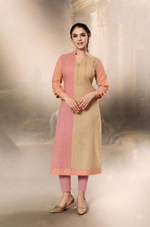 Laxmipati Cotton Base Fabric- Tan, Peach & Baby pink colour Kurti