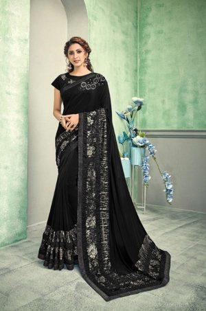 Party Wear desingner Sarees With Designer Blouses & embellished border – black colour