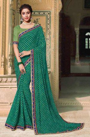 Laxmipati Bandhani print rama green Saree