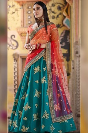 Traditional Wear Lehengas Satin Silk, Net & Raw Silk Fabrics- Peacock Blue & Orange Colour