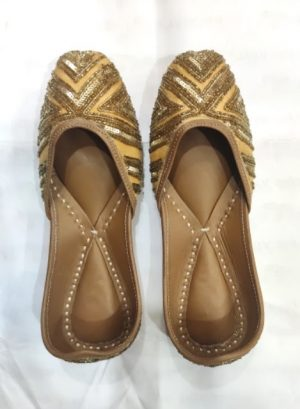 Designer Jutti with Embroidary on Golden Base