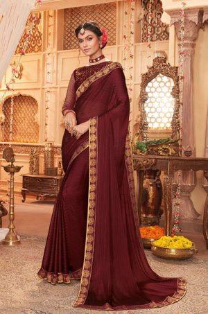 vipul casual & evening wear dark brown colour saree