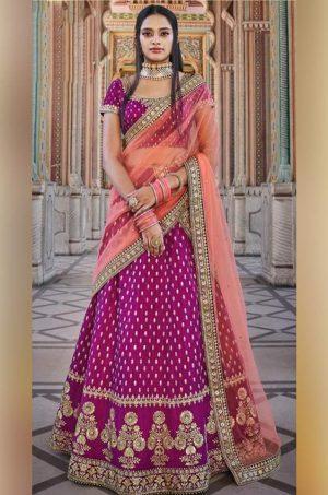 Traditional wear Lehengas satin Silk,Net & raw silk Fabrics- wine colour