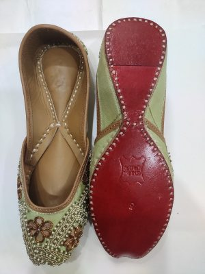 Designer Jutti with Embroidary on Light green (Gheeya) base