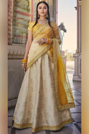 Best Traditional & Party Wear Lehenga of 2021 -Satin Silk, Net & Raw Silk Fabrics- Beige & Mustard Colour