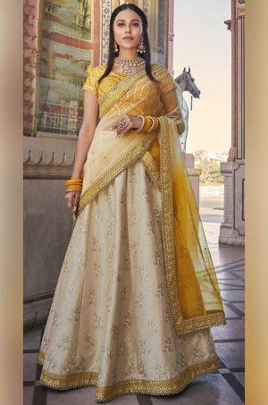 Best Traditional & Party Wear Lehenga of 2021 -Satin Silk, Net & Raw Silk Fabrics- Beige & Mustard Colour