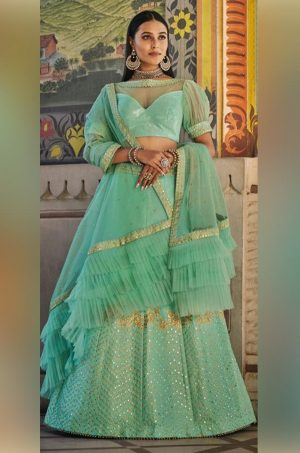 Crop top & skirt style Lehengas silk,Net & raw silk Fabrics- sky blue colour