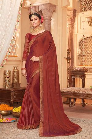 vipul casual & evening wear rust colour saree