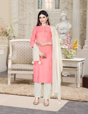 Readymade Pant Style suit Tusser silk fabrics with fency patola print dupatta