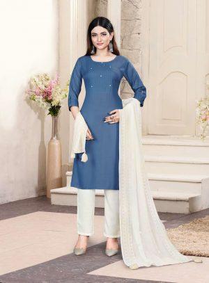 Readymade Suit – Party Wear Salwar Suit – Pant Style Suit- Best Fancy Suit Online -Tussar Silk Fabric