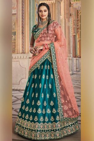 Traditional Wear Lehenga Satin Silk, Net & Raw Silk Fabrics- Peacock Green & Orange Colour